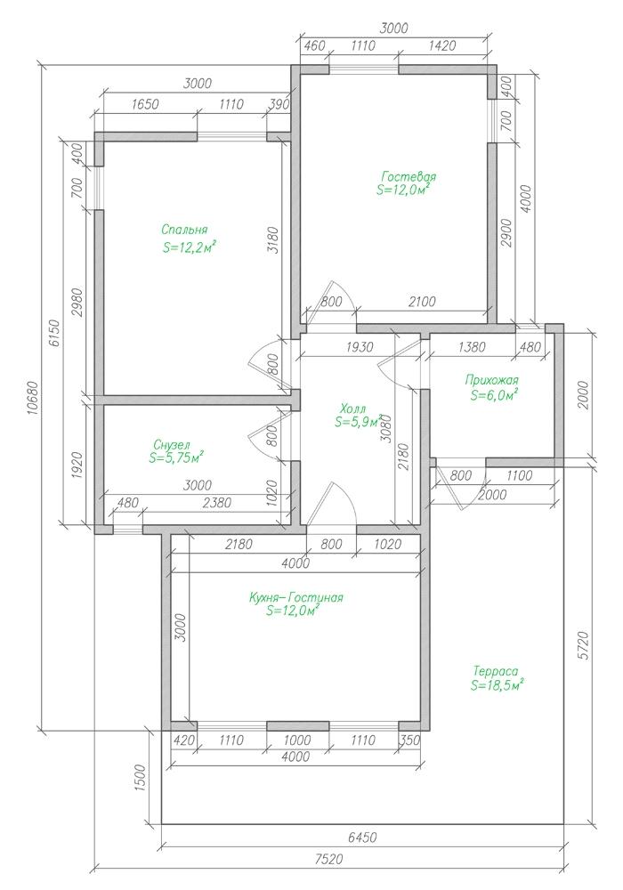 Компактный финский дом из бруса-план