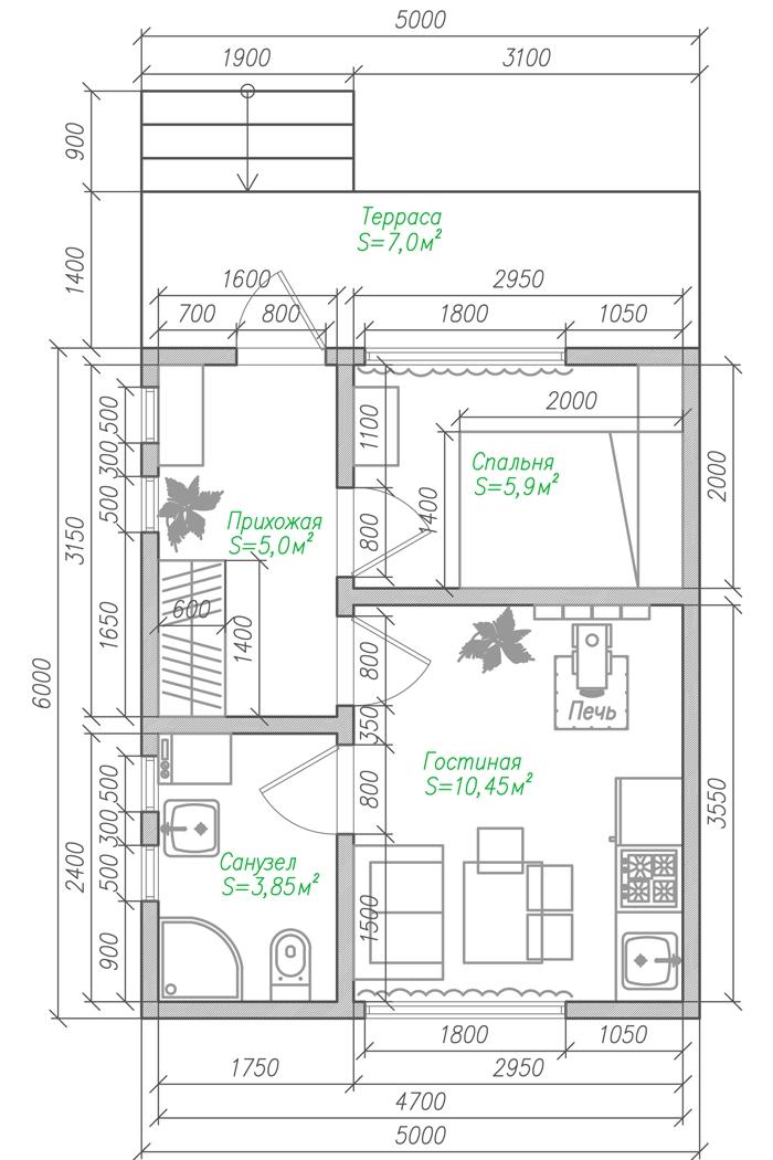 Маленький дачный дом из бруса-план