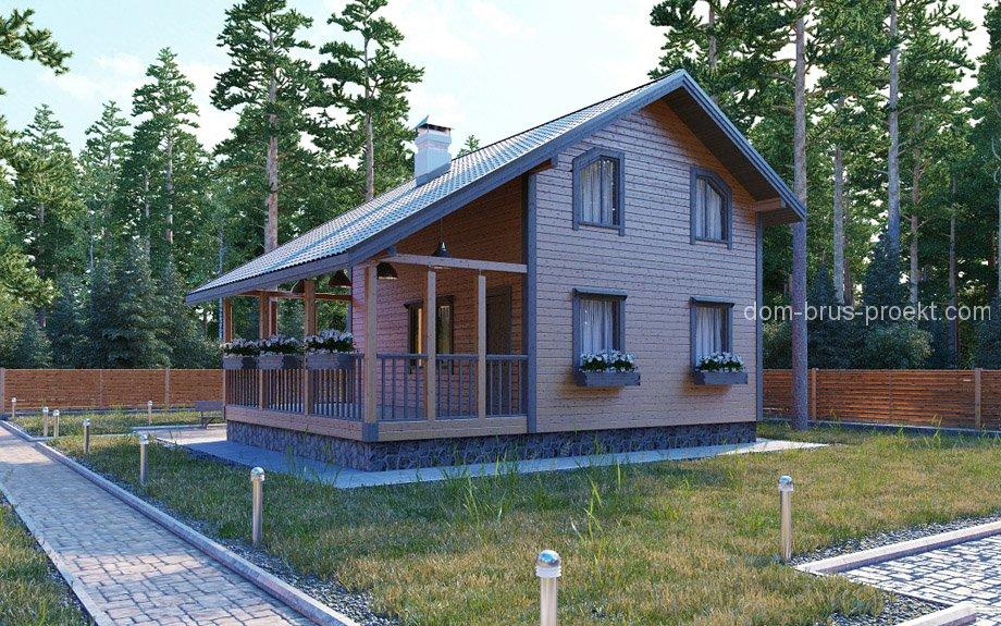 Фото домов из бруса с мансардой и балконом