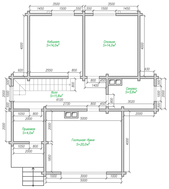 Коттедж из бруса с мансардой-1-этаж