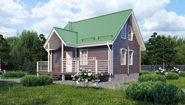 Проект бюджетного дома из бруса с мансардой-1