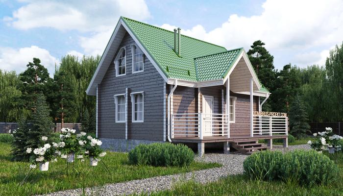 Проект бюджетного дома из бруса с мансардой-2