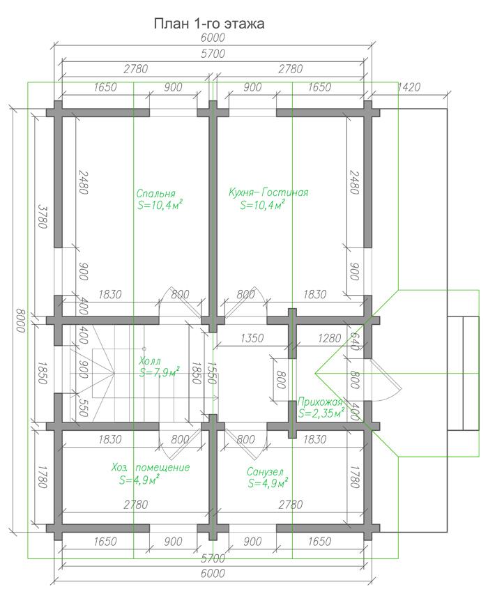 Проект бюджетного дома из бруса с мансардой план-1