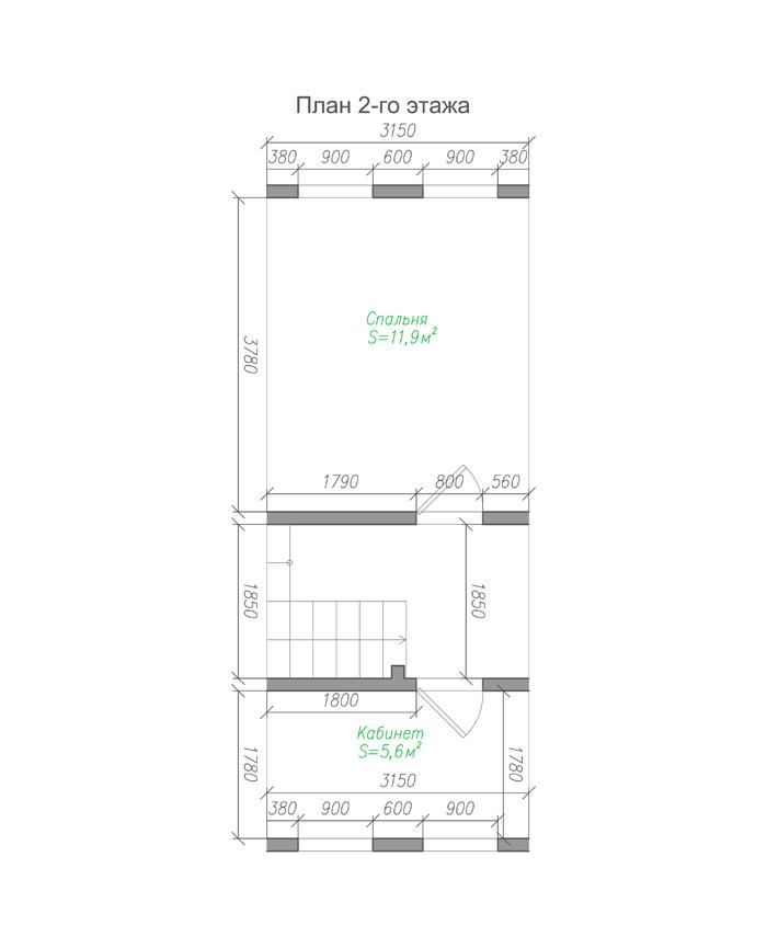 Проект бюджетного дома из бруса с мансардой план-2