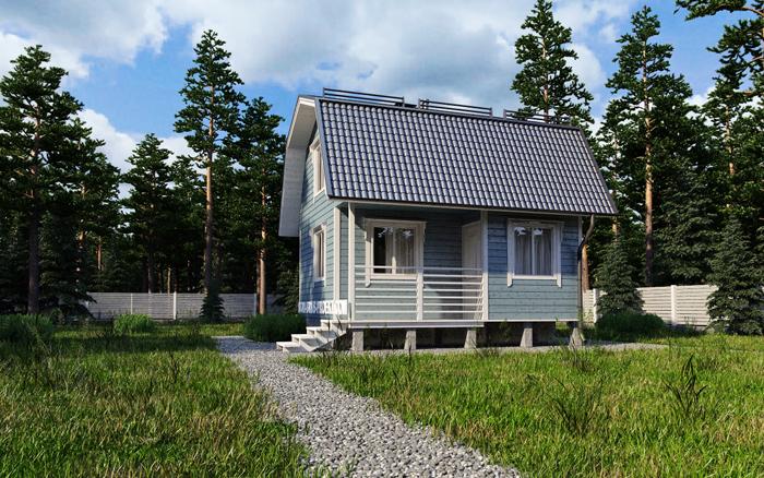 Дачный дом из бруса с мансардой 1