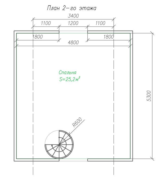 Дачный дом из бруса с мансардой план 2