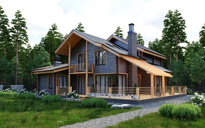Проект дома из бруса с мансардой и