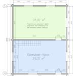 Планировка первого этажа дома с мансардой